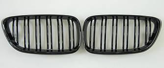 Решетка радиатора ноздри BMW F22 F23 стиль M2 (черный глянц)