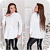 Блуза женская спереди с асимметричной оборкой (6 цветов) НФ/-3323 - Белый