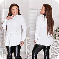 Блуза жіноча спереду з асиметричною оборкою (6 кольорів) НФ/-3323 - Білий, фото 1