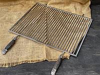 Нержавеющая решетка-гриль ручной работы для мангала 50х70см, с дубовыми ручками в виде медведей