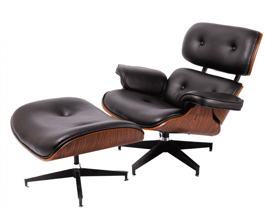 Кресло Релакс с оттоманкой, натуральная кожа, гнутая фанера, цвет черный , серый