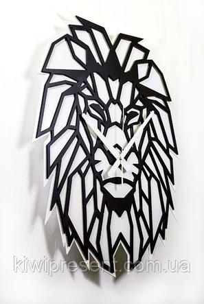 """Часы настенные лев - """"Аслан"""" (чёрные на белом фоне). Авторские дизайнерские настенные часы., фото 2"""