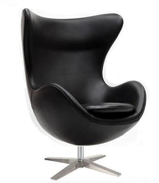 Кресло Эгг (Egg), кожа , основание металл, все цвета