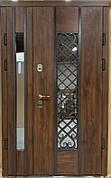 Двери уличные, модель Thermo Steel 20-02, 2 замка, полуторные, стеклопакет, ковка