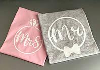 Парные футболки для парня и девушки из 100 % Хлопка . MR\MRS