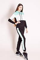 Спортивний костюм жіночий з лампасами в М'ЯТНО-ЧОРНО-БІЛОМУ поєднанні кольорів.