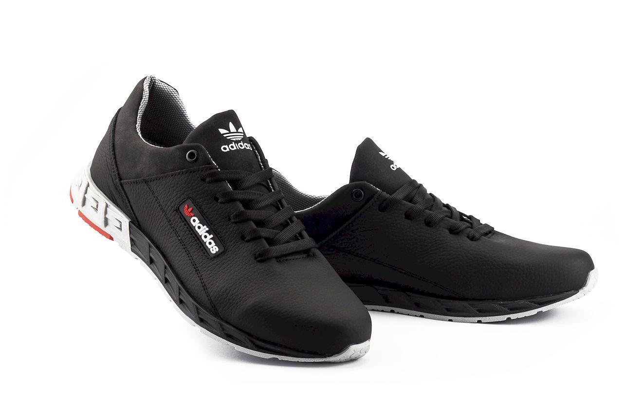 Мужские кроссовки кожаные весна/осень черные-матовые CrosSAV 39