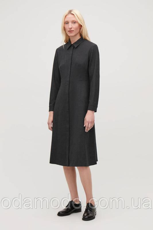 Женское платье серое шерстяное COS
