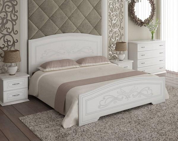 Кровать Анабель 1600х2000, белый супермат, серебрянная патина