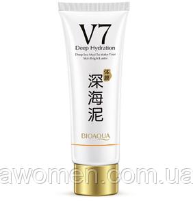 Уценка! Отбеливающая маска для лица и тела Bioaqua V7 Deep Sea Mud с глиной и гиалуроновой кислотой 150 g