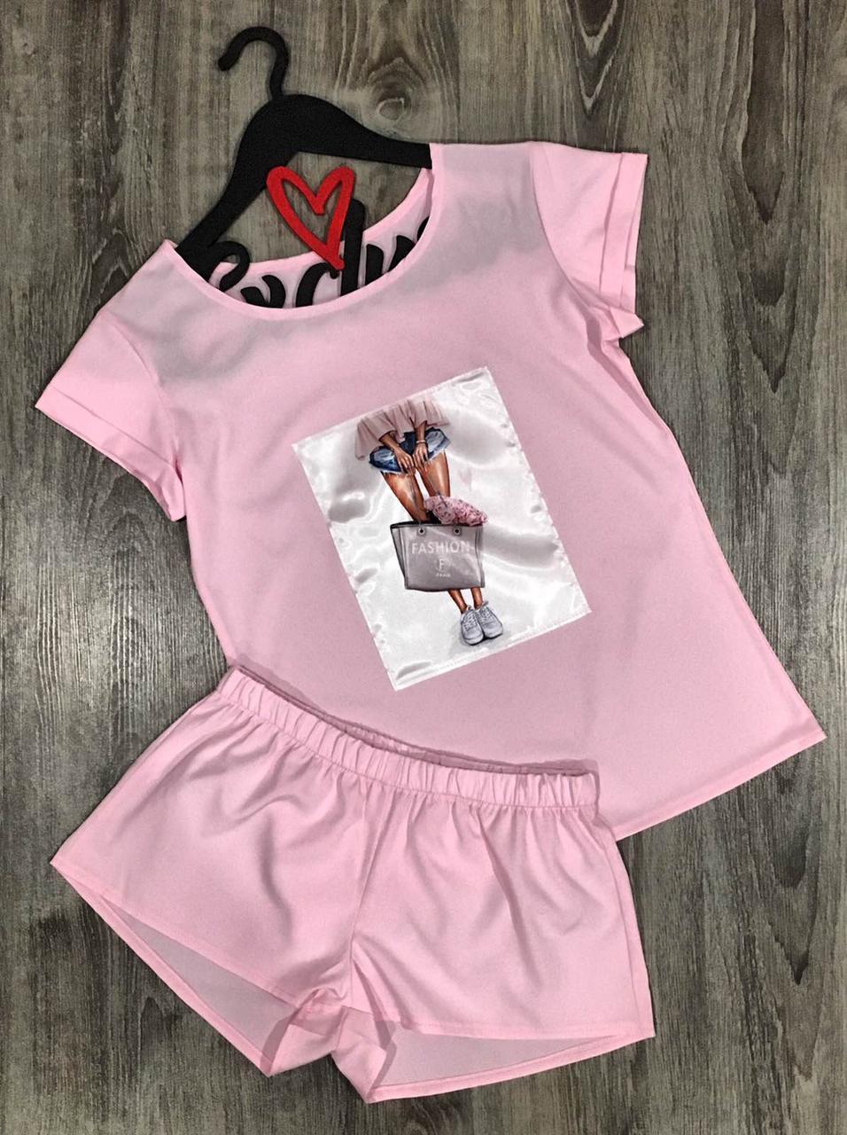 Модна жіноча піжама, комплект футболка і шорти 609 пінк fashion.