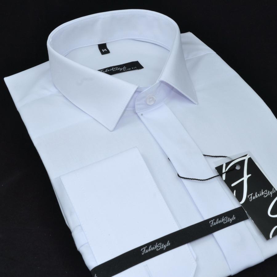 Сорочка чоловіча, приталена (Slim Fit), з довгим рукавом Fabrik Style ПОТАЙНА БІЛА 80% бавовна 20% поліестер