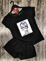 Стильные женские пижамы, комплект футболка и шорты с рисунком.