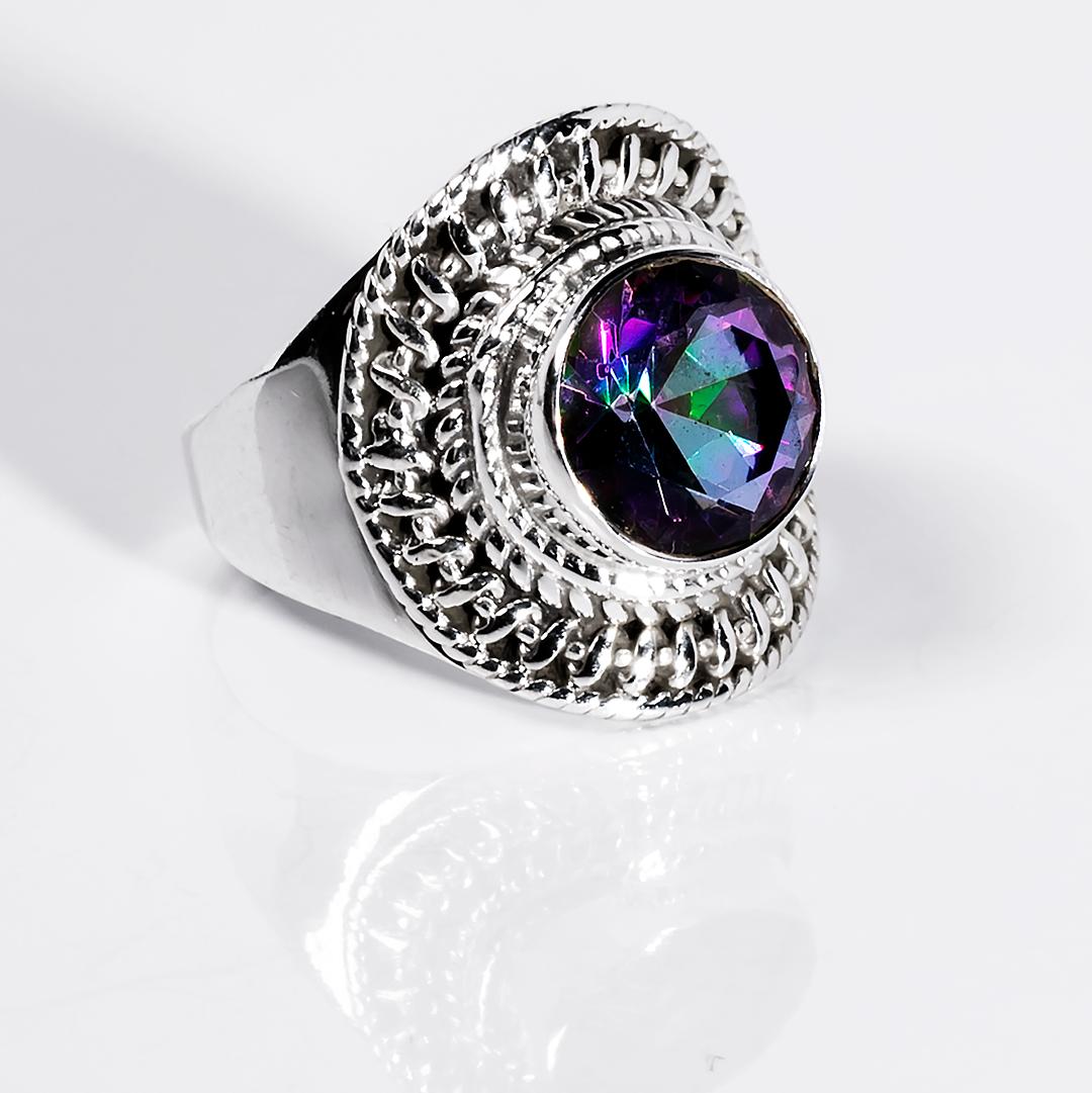 Серебряное кольцо с мистик топазом, 1383КТ