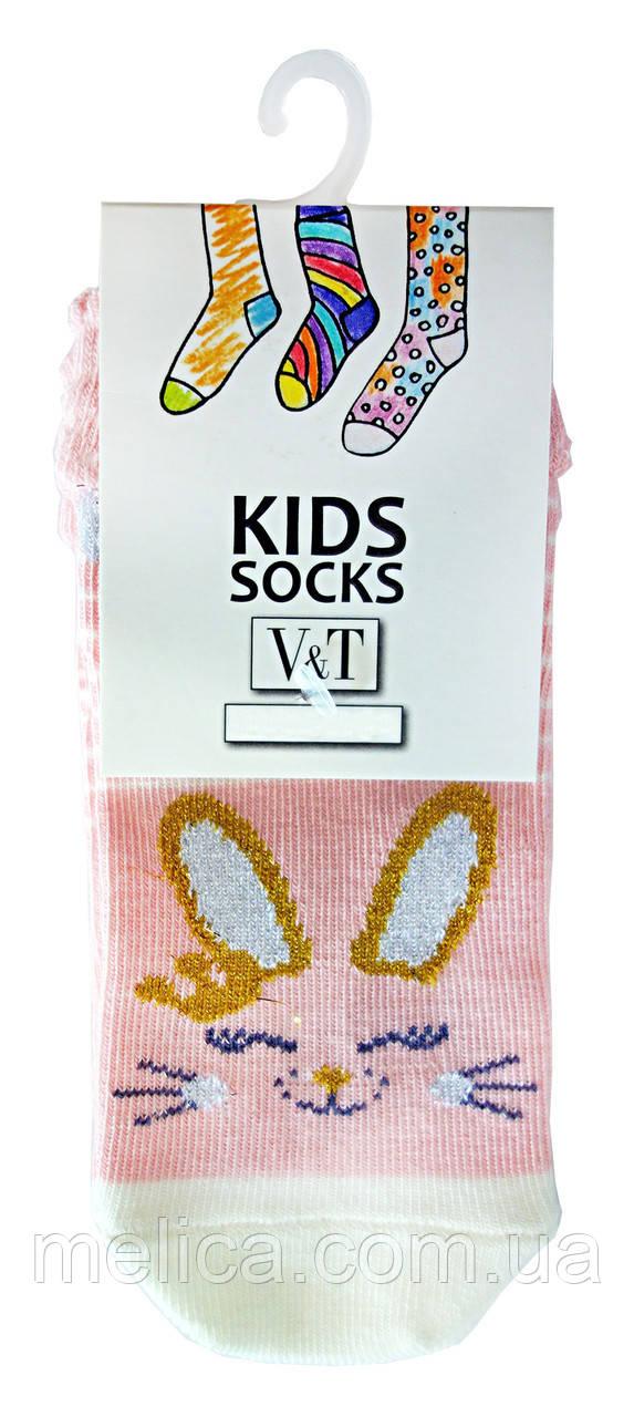 Носки детские Kids Socks V&T comfort ШДУг 024-624 с Зайченком из люрекса р.16-18 Розовый/светло-молочный