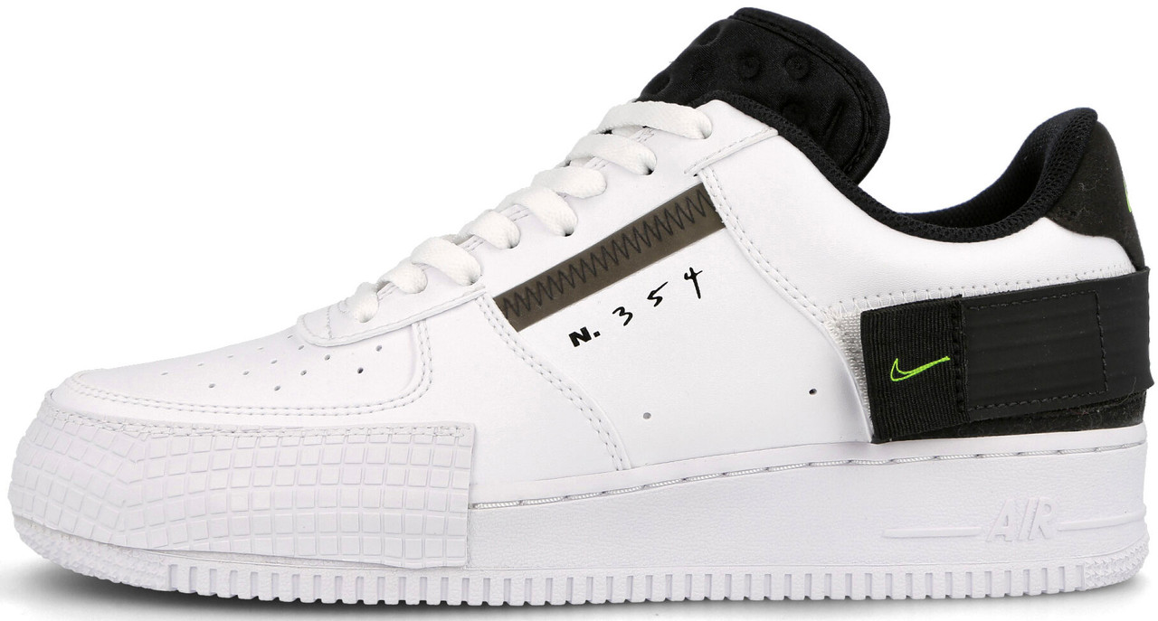 Мужские кроссовки Nike Air Force 1 Type White Black Volt AT7859-101, Найк Аир Форс