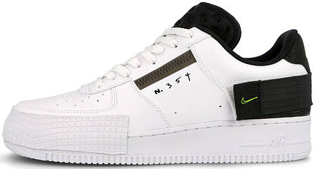 Мужские кроссовки Nike Air Force 1 Type White Black Volt AT7859-101, Найк Аир Форс, фото 2