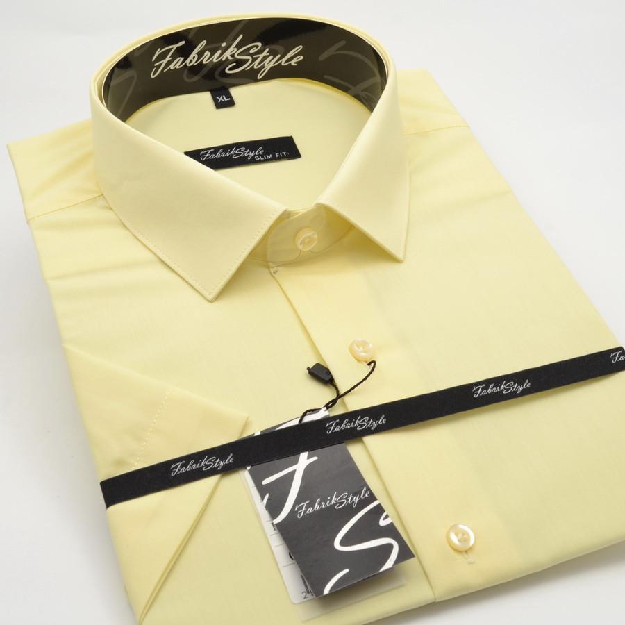 Сорочка чоловіча, приталена (Slim Fit), з коротким рукавом Fabrik Style 2243 Жовта 80% бавовна 20% поліестер XL(Р)