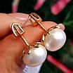 Золоті сережки пуссети з великим натуральними перлами, фото 2