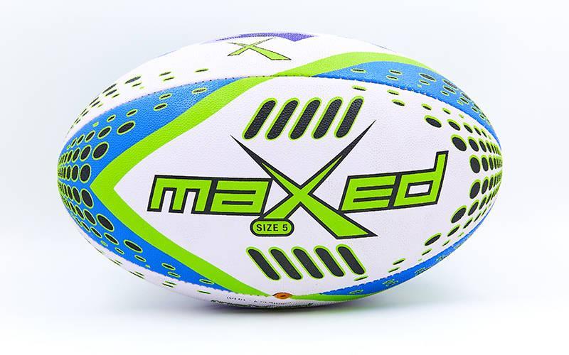 Мяч для регби MAXED (PU, р-р 12in, №5, белый-синий-салатовый)