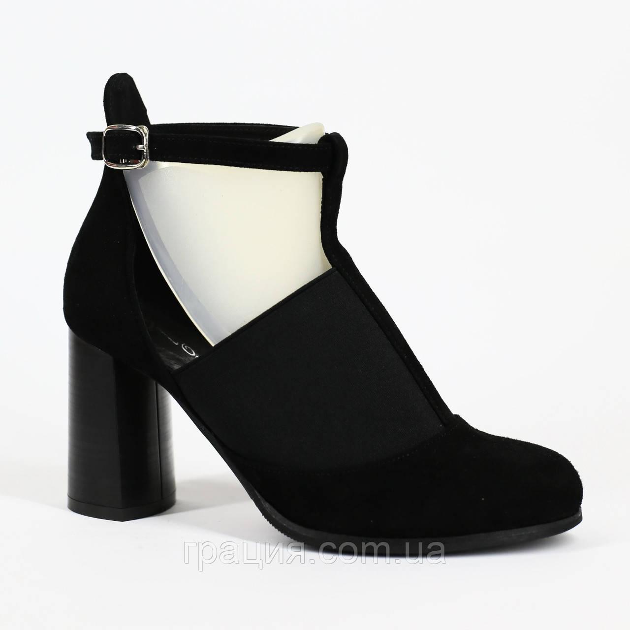 Женские элегантные туфли замшевые натуральные на каблуке с ремешком