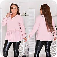 Блуза жіноча спереду з асиметричною оборкою (6 кольорів) НФ/-3323 - Рожевий, фото 1
