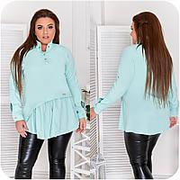 Блуза женская спереди с асимметричной оборкой (6 цветов) НФ/-3323 - Ментоловый, фото 1