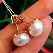 Золоті сережки пуссети з великим натуральними перлами, фото 3