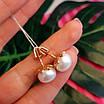 Золоті сережки пуссети з великим натуральними перлами, фото 5