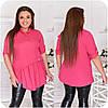 Блуза жіноча спереду з асиметричною оборкою (6 кольорів) НФ/-3323 - Фуксія