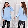 Блуза жіноча спереду з асиметричною оборкою (6 кольорів) НФ/-3323 - Блакитний