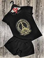 Черная пижама футболка и шорты ткань софт  609 .