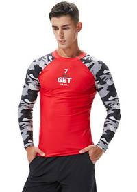Рашгард с длинным рукавом.Тренировочная футболка для спорта, фитнеса, дайвинга, велоспорта, борьбы. Красная
