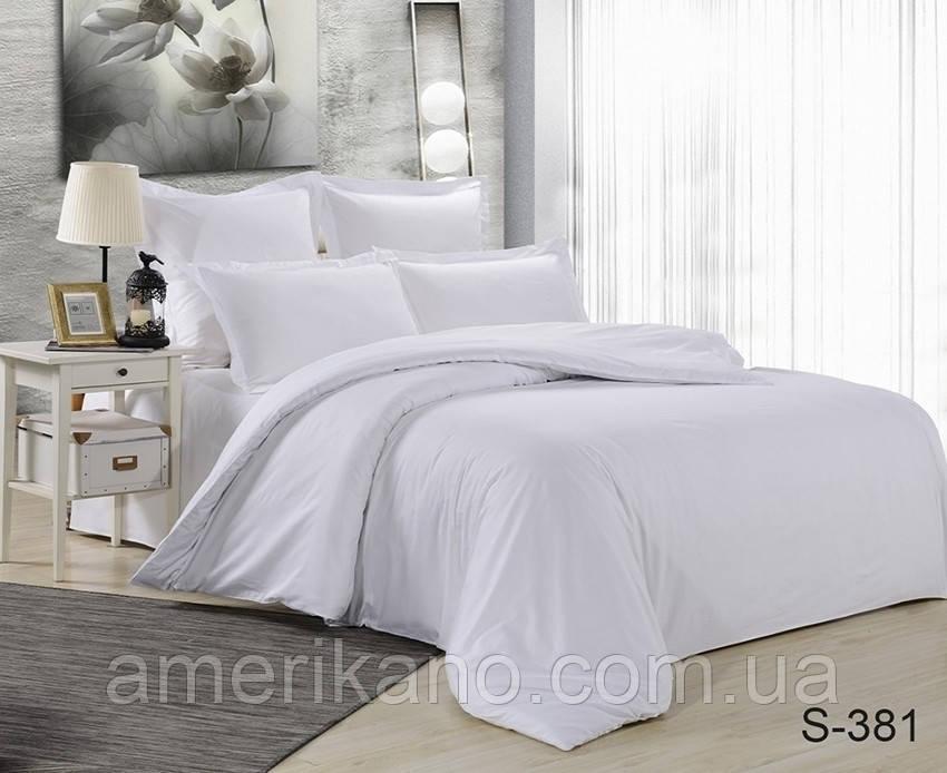 Евро макси комплект постельного белья Сатин люкс ТМ TAG. Белое.