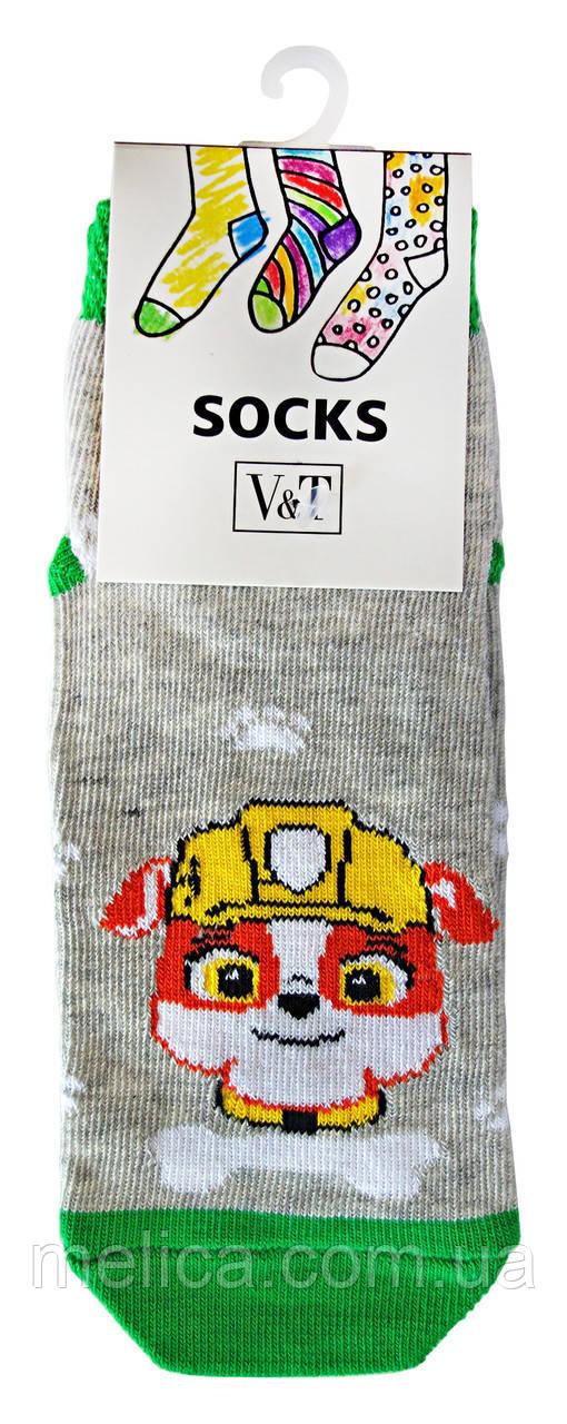 Носки детские Kids Socks V&T comfort ШДУг 024-632 Бульдог р.16-18 Серый меланж/зеленый