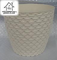 Горшок цветочный пластиковый Элиф пластик 3 л молочный