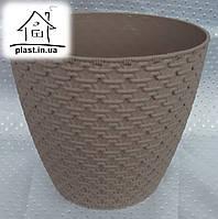 Горшок цветочный пластиковый Элиф пластик 3 л коричневый