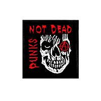 Нашивка вышитая Punks Not Dead череп