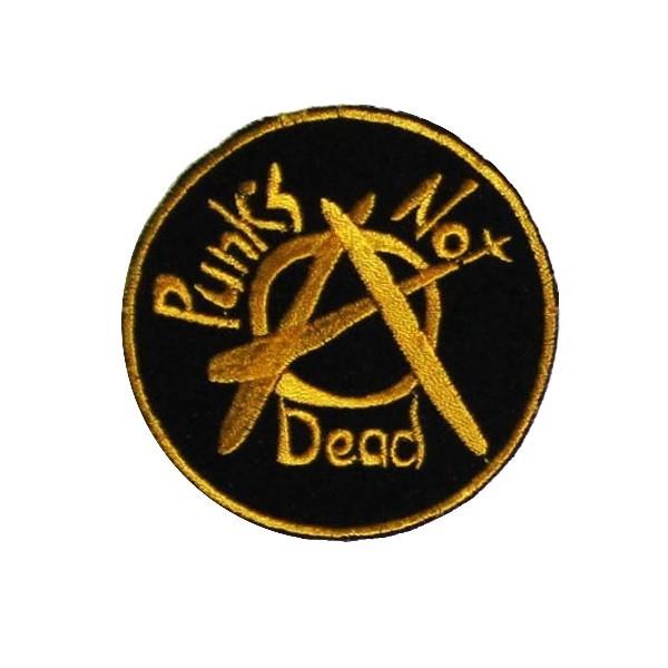Нашивка вышитая Punks Not Dead круглая