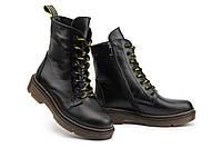 Женские ботинки кожаные зимние черные Mkrafvt Martins