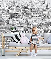 Дизайнерские обои в детскую комнату Город детей Kid City 110 см х 150 см