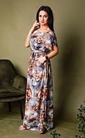 Летнее полномерное длинное платье размеры 56-58, 58-60