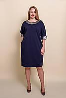 Сукня жіноча батал темно синього кольору. Розміри 52, 54, 58. Виміри в описі 52, фото 1