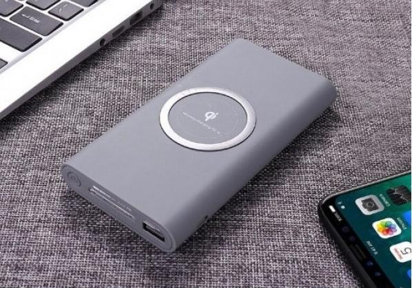 Внешний аккумулятор с беспроводной зарядкой 10000 mAh Power Bank Qi (Серый)