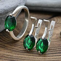 Серебряный набор кольцо размер 17 + серьги 20х8 мм вставка зеленые фианиты