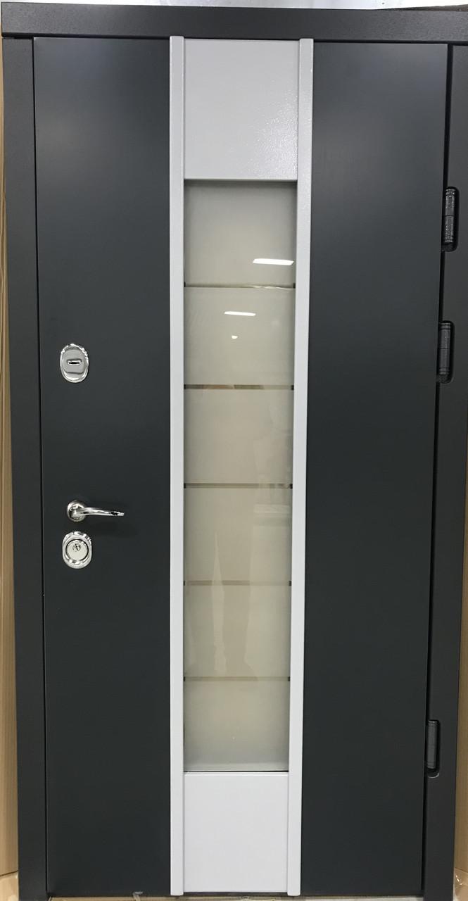 Двери уличные, модель Thermo Steel 20-03, 2 замка, стеклопакет, ковка