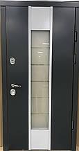 Двери уличные, модель Thermo Steel 21-07, 2 замка, стеклопакет, ковка