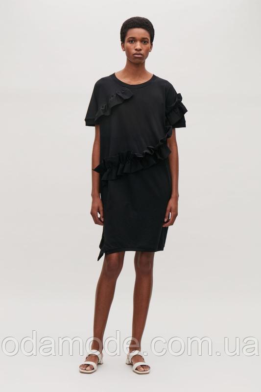 Платье женское летнее чёрное с рюшами  COS