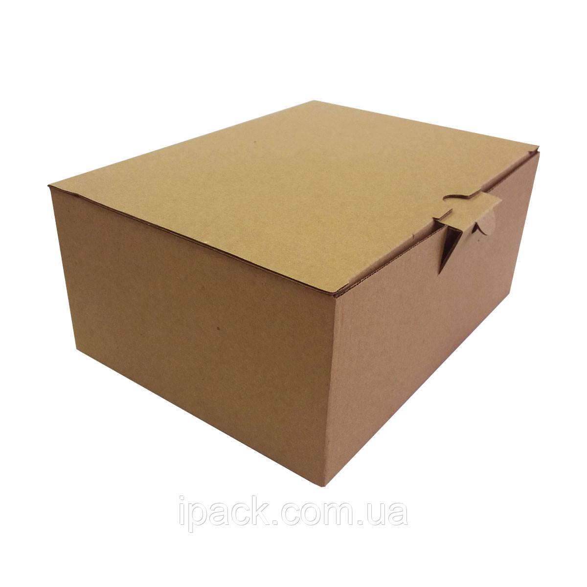 Коробка картонная самосборная, 185*143*100, мм, бурая, крафт, микрогофрокартон
