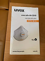 Маска респиратор противовирусный Uvex silv-Air classic 2210 FFP2 8732110 угольный с клапаном Белый